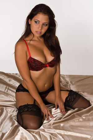garter belt: Lovely young brunette in red and black lingerie