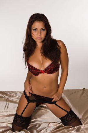garter belt: Lovely young brunette in red and black lingerie