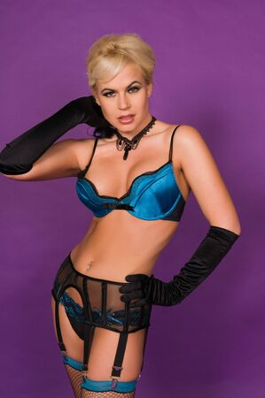 blue lingerie: Beautiful blonde in black and blue lingerie