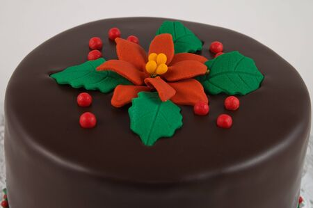 Rich dark chocolate cake decorated for Christmas photo