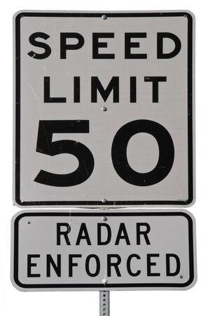 孤立した道路標識の制限速度 50 のレーダーの施行 写真素材