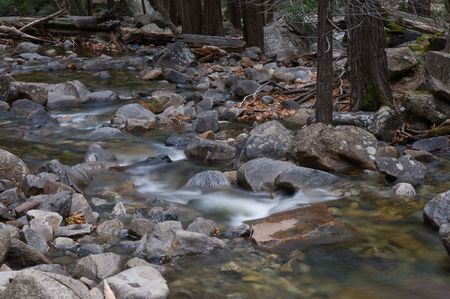 downstream: Cascade downstream from Bridalveil Falls, Yosemite National Park, California