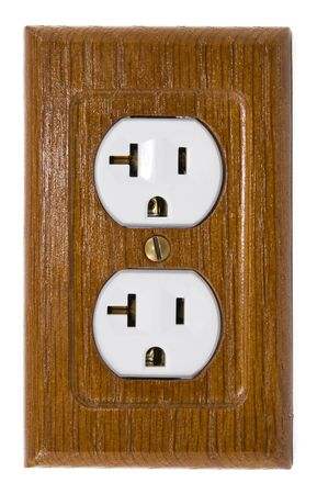 prong: Wooden wall plate with three prong grounded power outlets Stock Photo