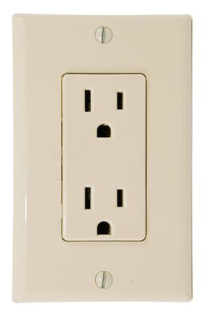 prong: Modern wall plate with three prong grounded power outlets
