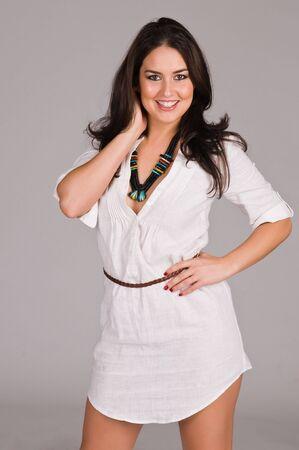 Beautiful Native American brunette in a white linen dress Stock fotó - 6547691