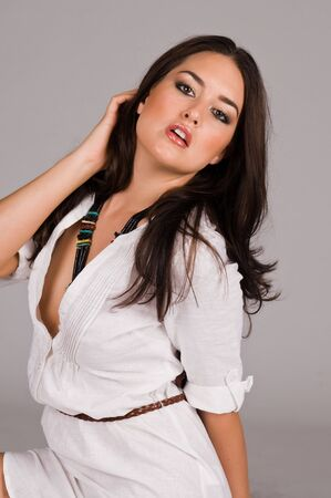 american sexy: Beautiful Native American brunette in a white linen dress