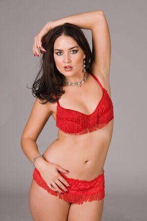 Beautiful Native American brunette in red lingerie photo