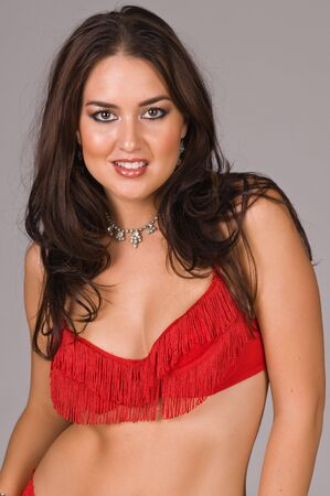 native american girl: Beautiful Native American brunette in red lingerie