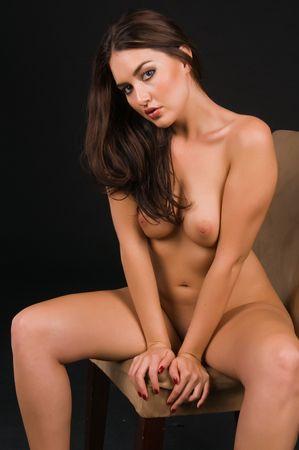 Beautiful Native American brunette nude over black Stock Photo - 6547686