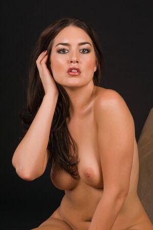 Beautiful Native American brunette nude over black Stock Photo - 6547704