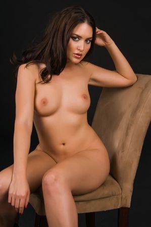 Beautiful Native American brunette nude over black