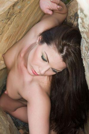 Beautiful nude brunette among the rocks, Red Rock Canyon, Las Vegas, Nevada Stock Photo - 6774416