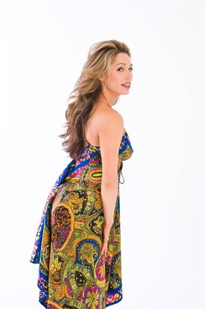 brown haired girl: Beautiful young brown haired girl in a long paisley dress