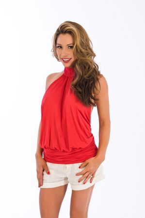 halter: Beautiful brown haired woman in a red halter top Stock Photo