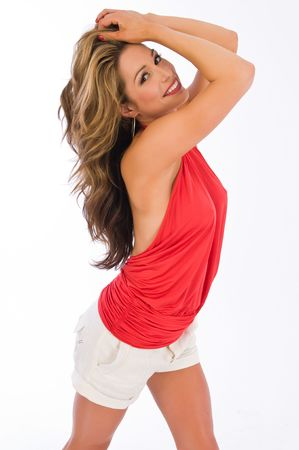 Beautiful brown haired woman in a red halter top Banco de Imagens