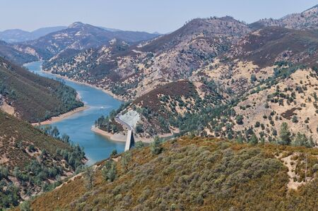 foothills: Lake McClure and the foothills of the Sierra Nevadas, from Bagby, California Stock Photo