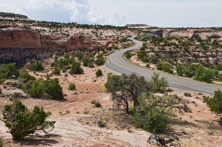 Winding road across The Neck, Islands in the Sky, Canyonlands National Park, Utah Stock Photo - 7617024