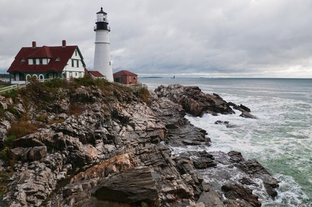 Lighthouse on the Atlantic coast, Cape Elizabeth, Maine Imagens