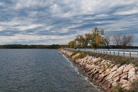 milton: Roosevelt Highway across Lake Champlain near Sand Bar State Park, Milton, Vermont Stock Photo