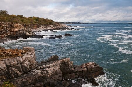 Overcast sky and rocky coast, South Portland, Maine