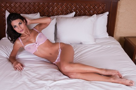 Beautiful young Czech woman in sheer pink lingerie photo