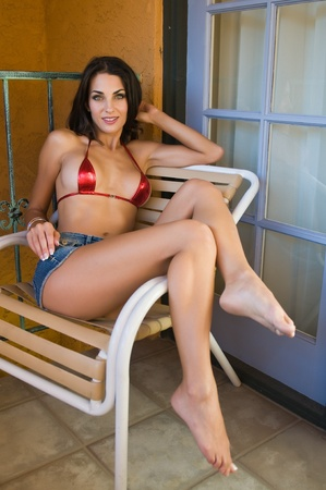 balcony: Beautiful Czech woman in a tiny red bikini top