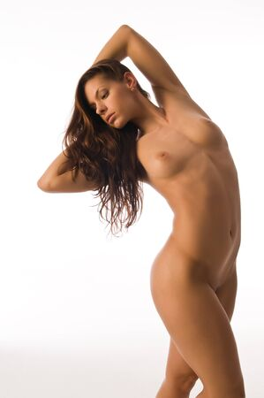 Beautiful nude athletic brunette isolated on white Stock Photo - 8575129