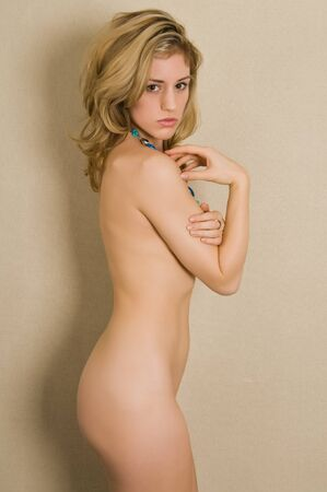 nude blonde woman: Beautiful young nude blonde woman Stock Photo