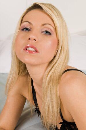Beautiful young Czech woman in black lingerie photo
