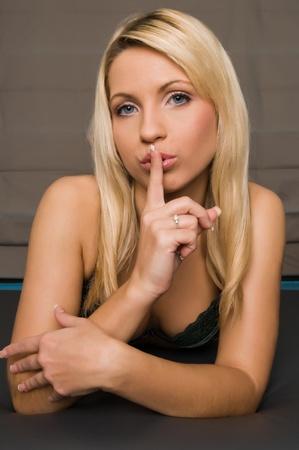 Beautiful young Czech blonde in dark green lingerie photo
