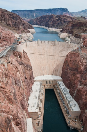 Looking down on Hoover Dam, near Boulder City, Nevada