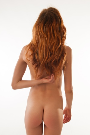 female nudity: Beautiful tall slender redhead nude over white