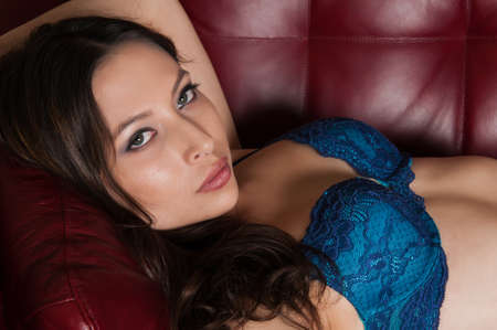 latina girl: Pretty young latina dressed in blue lingerie