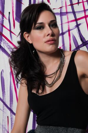 little black dress: Beautiful tall Brazilian woman in a little black dress Stock Photo