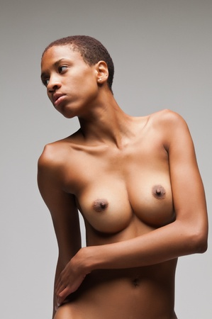 naked african: Slender young black woman posing nude