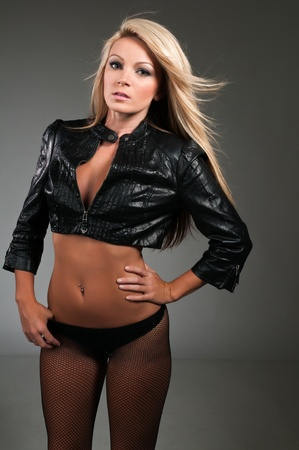 Beautiful curvy blonde in a black leather jacket photo
