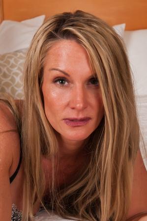美しい成熟した金髪の顔のクローズ アップ 写真素材