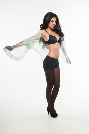 panty hose: Beautiful young multiracial woman in black lingerie