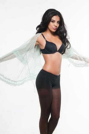 팬티 스타킹: Beautiful young multiracial woman in black lingerie