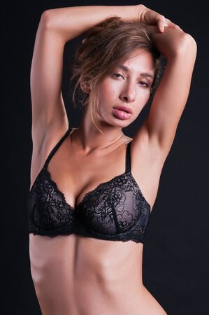 israeli: Pretty young Israeli woman in black lingerie Stock Photo