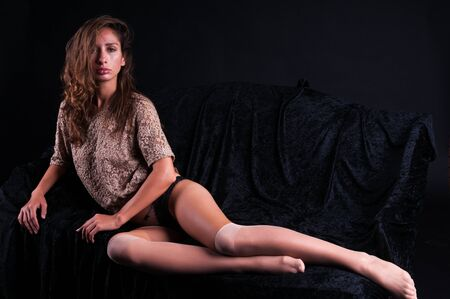 Pretty young Israeli woman in a lace blouse