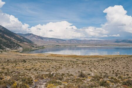 lee vining: Mono Lake on a cloudy day near Lee Vining, California Stock Photo