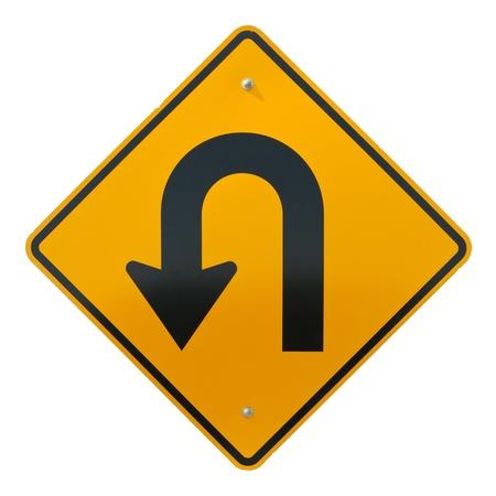 U ターン先道路標識は、白で隔離されます。
