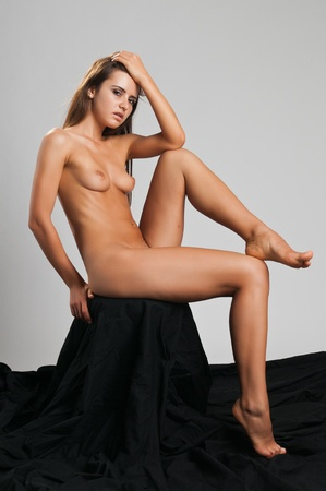 undressed young: Pretty slender Romanian brunette posing nude