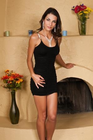 czech women: Beautiful Czech woman in a little black dress Stock Photo