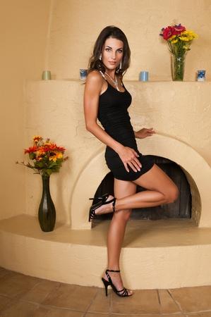 Beautiful Czech woman in a little black dress Stock Photo
