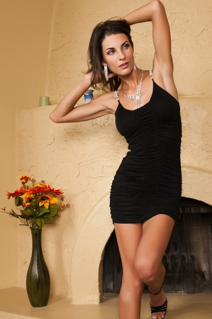 Beautiful Czech woman in a little black dress photo