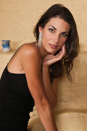 little black dress: Beautiful Czech woman in a little black dress Stock Photo