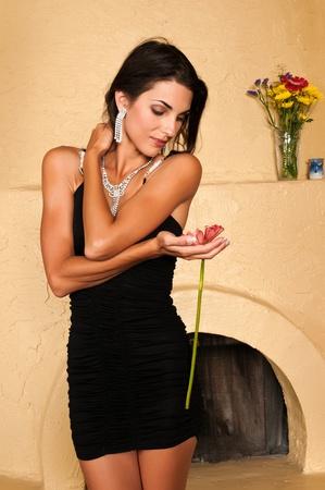 Mooie Tsjechische vrouw in een kleine zwarte jurk Stockfoto