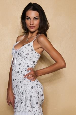 Beautiful Czech woman in a white dress 免版税图像